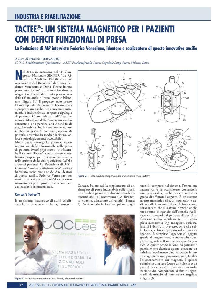 Tactee , sistema magnetico per deficit di presa si racconta a MR, Giornale di Medicina Riabilitativa